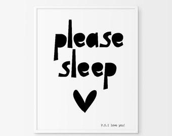 Kids Typography Poster, Please Sleep, Kids Wall Decor, Wall Art, Nursery Decor Art, Please Sleep, black and white art, nursery wall art