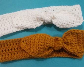 Crochet handmade adjustable rabbit ear headband/ear warmer (white, mustard, brown, gray/grey, blue, red)