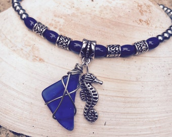 Seahorse Anklet, Sea Glass Ankle Beach Anklet, Ankle Bracelet, Beach Jewelry, Jewelry