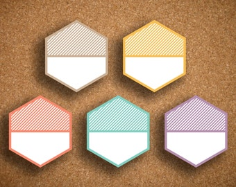 Striped Large Hexagon Planner Stickers for Inkwell Press Planner IWP-SH1