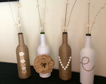 wine bottle decor rustic home decor farmhouse decor country weddng twine wrapped bottles yarn wrapped bottles rustic vases wine bottl