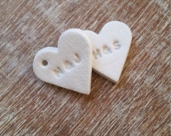 10 Personalized Tiny Clay Hearts ~ Wedding Favors ~ Wedding Invitations ~ Clay Gift Tags ~ Wedding Decor ~ Gift Wrapping Tags