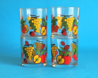 Retro Italian Fruit Drinking Glasses - Cherries Strawberry Apples & Grapes Tumblers - Low Ball - Set of Four - Made in Italy