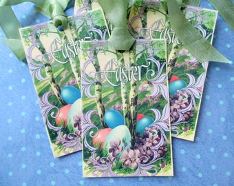 Easter Tags-Easter Eggs on a Hill-Set of 6