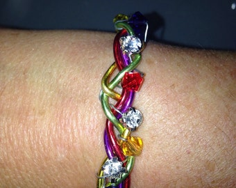 Rainbow wire & beads.