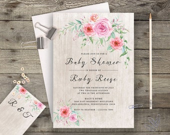 Floral Baby Shower Printable Boho Chic Baby Shower Invitation Bohemian Baby Shower Invite Modern Typography Spring / Summer Wedding