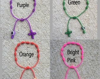 Handmade Evil Eye Knotted Rosary Bracelet