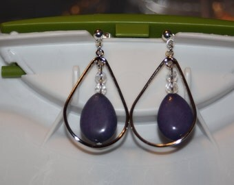 Purple Glass Teardrop Earrings