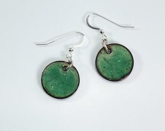Green Copper Penny Earrings Silver Filled Metal Enamel Earrings Green Penny Earrings