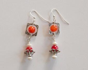 Silver Filled, Dangling Earrings, Pewter & Gemstone Earrings