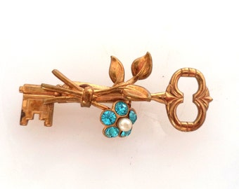 CORO Key Flower Brooch Signed Gold Tone Pin