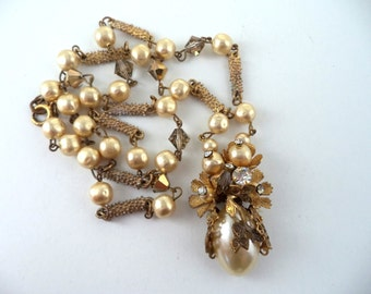 Miriam Haskell Style Necklace Glass Baroque Pearls Rhinestones Gilt Unsigned