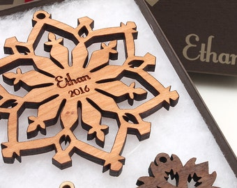 Detailed Snowflake Personalized Christmas Gifts from Nestled Pines - Custom Snowflake Personalized Christmas Ornaments