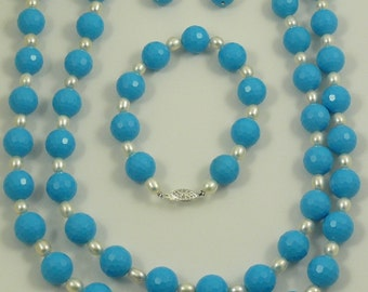 Freshwater Pearl and Blue Beads Necklace, Earring and Bracelet Set