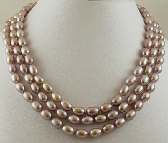 Freshwater Pink Rice Shape Pearl Triple Strand Necklace with GoldFilled Lock