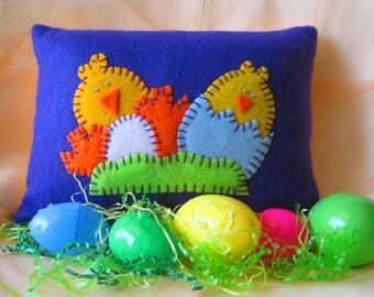 Spring Chicks & Flowers Decorative Purple Pillow