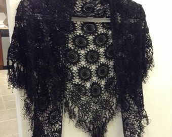 Sale Vintage Handmade Crochet Triangle Shawl with Fringes/ Black