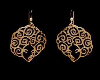 Golden Brass Filigree Afro Earrings