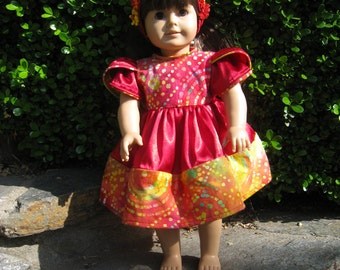 American girl doll clothes, Multi-colored Party Dress & Headband, 18 inch doll clothes, doll clothes, american girl doll accessories