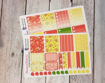 Lemon, Coral, Green Shabby Chic Themed Planner Stickers - Made to fit Vertical Layout