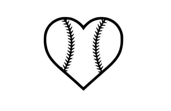 Baseball Heart SVG File.  For Silhouette or Cricut Machines.  For use with HTV, Oracle 631/651, Paper cutter file