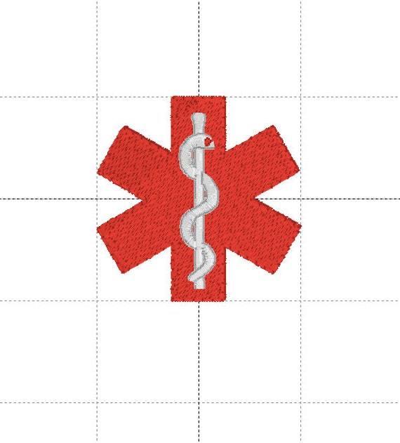 Caduceus Embroidery Design, Star of Life Multiple Formats, 4 sizes