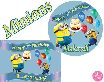 Minions Round Edible Image Real Icing personalised Cake Topper