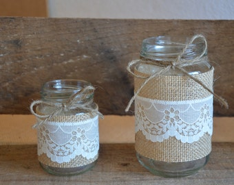 Rustic Wedding Jars - Scalloped Ivory Lace over Burlap Wrap - SMALL x 10