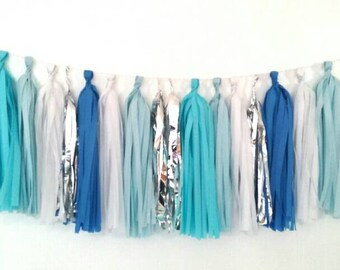 Oxford blue, light blue, white, silver, and dark blue tassel garland - blue and white wedding - blue and silver - blue nursery