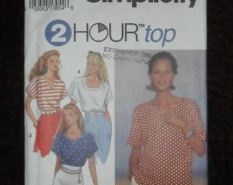 Misses Top with Neckline Variations Plus Size Simplicity Pattern #8373