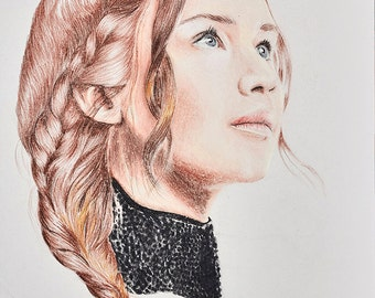 Jennifer Lawrence, Hunger Games , Mockingjay, Katniss Everdeen, Original Handmade Drawing, Katniss Painting