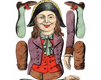 Printable Paper Puppet Pirate Paper Doll Antique Vintage Digital Download On Sale