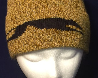 Beanie Hat in Mustardy Colors with Stretched Running Greyhound