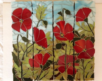 Poppies in glass mosaic