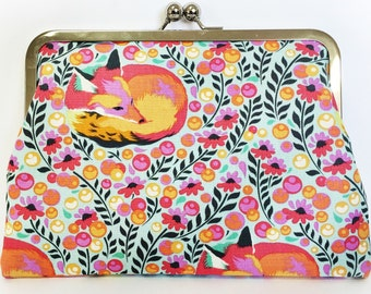 Designer Fabric Clutch Purse 'Floral Foxy'