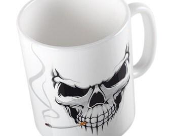 Smoking skull mug