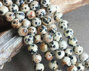 "Dalmatian Jasper >> 6mm Round Beads >> 15.5"" Strand - Smooth Rounds, Sphere, Gemstones"