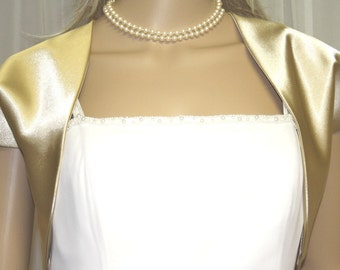 Gold Satin Bolero Jacket  Perfect for Bridal Prom Formal New !!