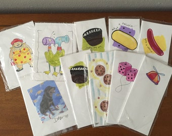 Lot of 10 Hand Painted Cards With  Envelopes