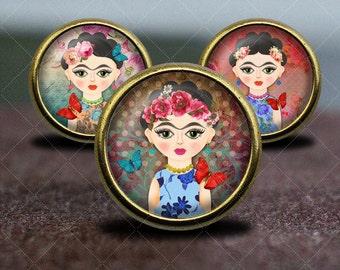 Frida Kahlo / Vintage Bronze Dresser knobs cabinet Dresser Knobs pull /  Furniture Knobs