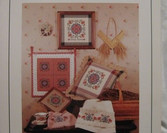 "Vintage 1987 ""WHIG ROSE"" Designs from Quilt - Motif 4 Leaflet 6, Counted Cross Stitch Needlepoint Pattern Book Country Cachet, Folk Art 137"