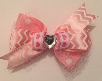 Pink stacked Heart Bow