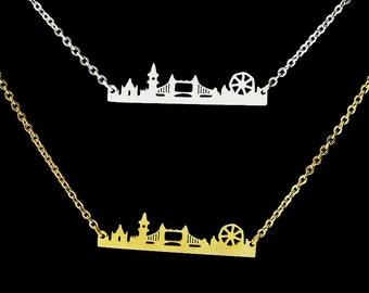 London Skyline necklace, Vintage London Skyline necklace, London Skyline necklace Silver or Gold  color, London pendant, London necklace