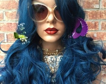 """Brillant Blue~ Curly Lace Part Front Wig 22"""""""