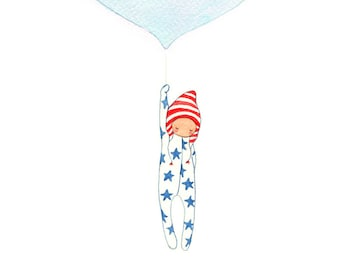 Nursery Art, Balloon Print, Baby Boy Nursery, Christening Gift, America, Newborn Baby, Nursery Painting