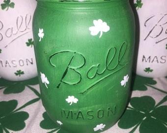 St. Patricks Day hand painted mason jar