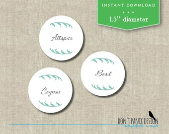 Printable Spice Jar Labels - Simple Elegant Round Spice Jar Labels - Home Organizing Stickers - Instant Download