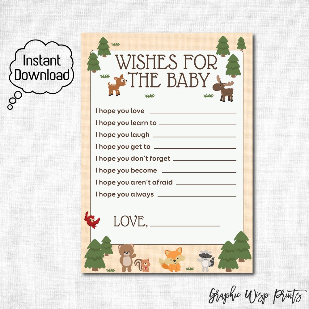woodland baby shower wishes for the baby card by graphicwispprints
