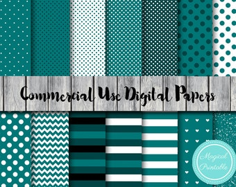 Teal Digital Papers, Teal stripes, dots, Instant Download Digital Papers, Commercial Use, Scrapbook Digital Papers, Digital Background, DP10