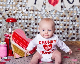 Chunky is the New Hunky. Valentine Outfit. First Valentine's. Baby Valentine. Boy or Girl Baby Valentine outfit. First Valentine 2017